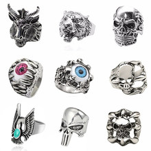 Tiger Ring For Men Jewelry Vintage Punk Mens Rings Steampunk Hollow Stainless Steel Rings Of Anime Skull Hip Hop Dropshipping(China)