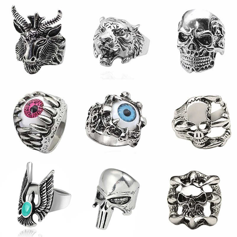 d3fb5ff0271 Tiger Ring For Men Jewelry Vintage Punk Mens Rings Steampunk Hollow Stainless  Steel Rings Of Anime