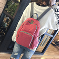 2017 new fashionable design nylon women solid color backpack college student school book bag leisure backpack travel bag