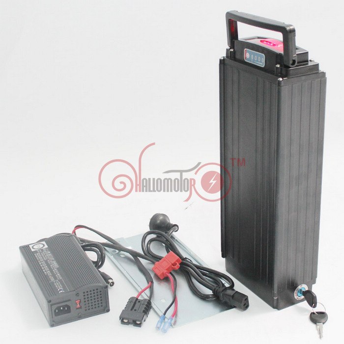 ConhisMotor 48V 15.4AH Electric Bike Rear Carrier Li-ion Battery OEM18650-H22P Cell With Flat Aluminium Case 5A Charger and BMS powerful 48v electric bike battery pack li ion 48v 50ah 1000w batteries for electric scooter with use panasonic 18650 cell