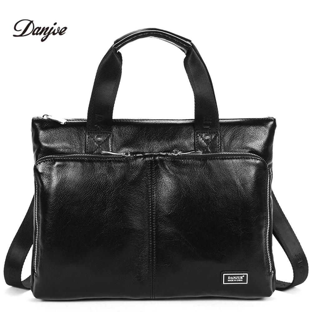 DANJUE New Handbag Male Genuine Leather Men Business Briefcase Men Laptop Bag Zipper Big Capacity Man Shoulder Bag