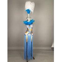 Блестящие синие перья кисточкой стразы бикини платье комплект одежды певица в ночном клубе этап Женские День рождения наряд