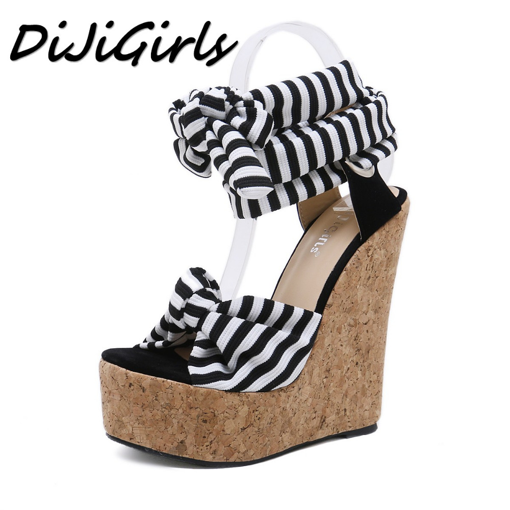 DiJiGirls Summer Women Wedges Sandals Shoes Woman Pumps Ladies Fashion Platform Cross Tied Female High Thick Heels Sandals hee grand cross tied women sandals summer sexy square high heels flock wedding shoes woman elegant pumps ladies 3 colors xwz2049
