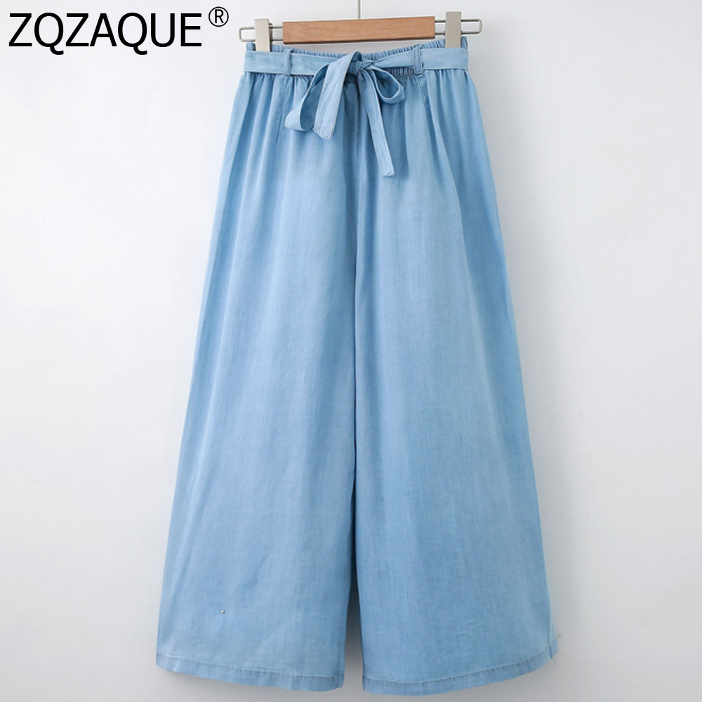 Womens Denim Pants Elastic Waist Loose Wide Leg Pants Cool Tencel Calf-Length Pants With Sashes Summer Fall Slim Thin All-Match