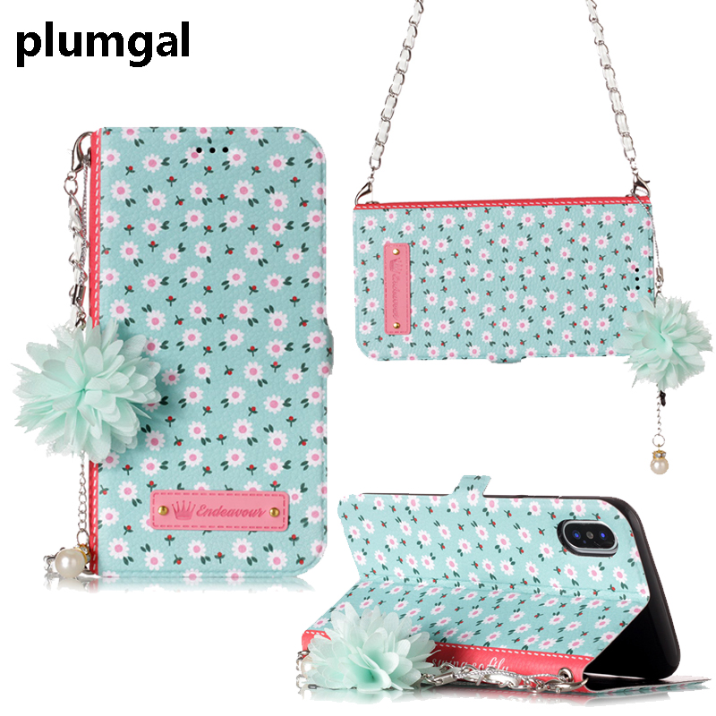 Plumgal Luxury Flip Fitted Case For Apple iPhoen x 8plus flower PU Leather With Card Pocket Case For iPhone 7 7plus Cover Case