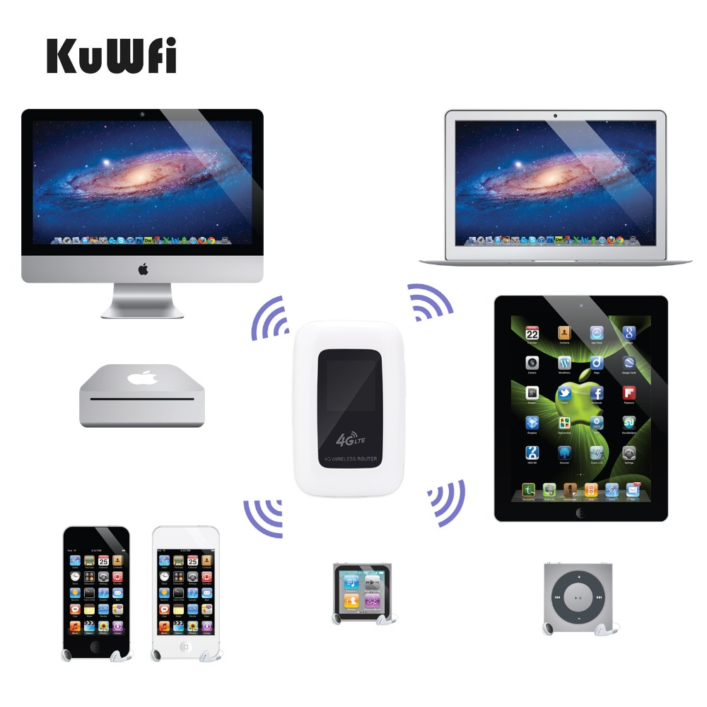 Image 2 - KuWfi 4G LTE Wifi Router Portable 150Mbps WIFI Mobile Hotspot 4G Travel Router Car Router&Modem With SIM Card slot-in 3G/4G Routers from Computer & Office