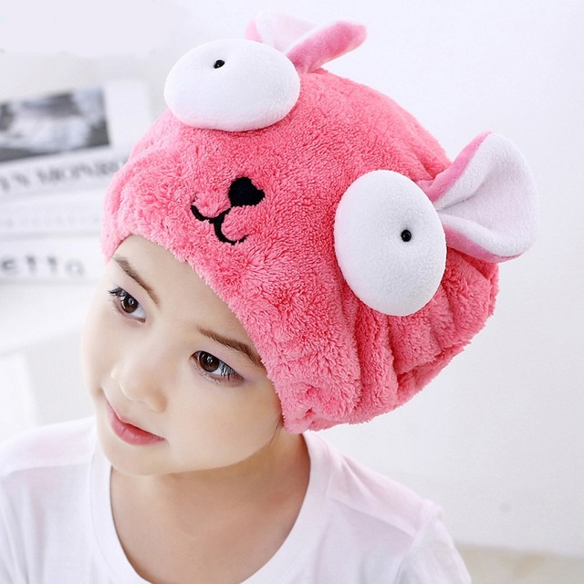 Cute Hair Dry Hat Shower Cap Bath Towel Strong Absorbing Drying Long - Velvet Ultra -Soft Children 's Special Dry Hair Cap Towel