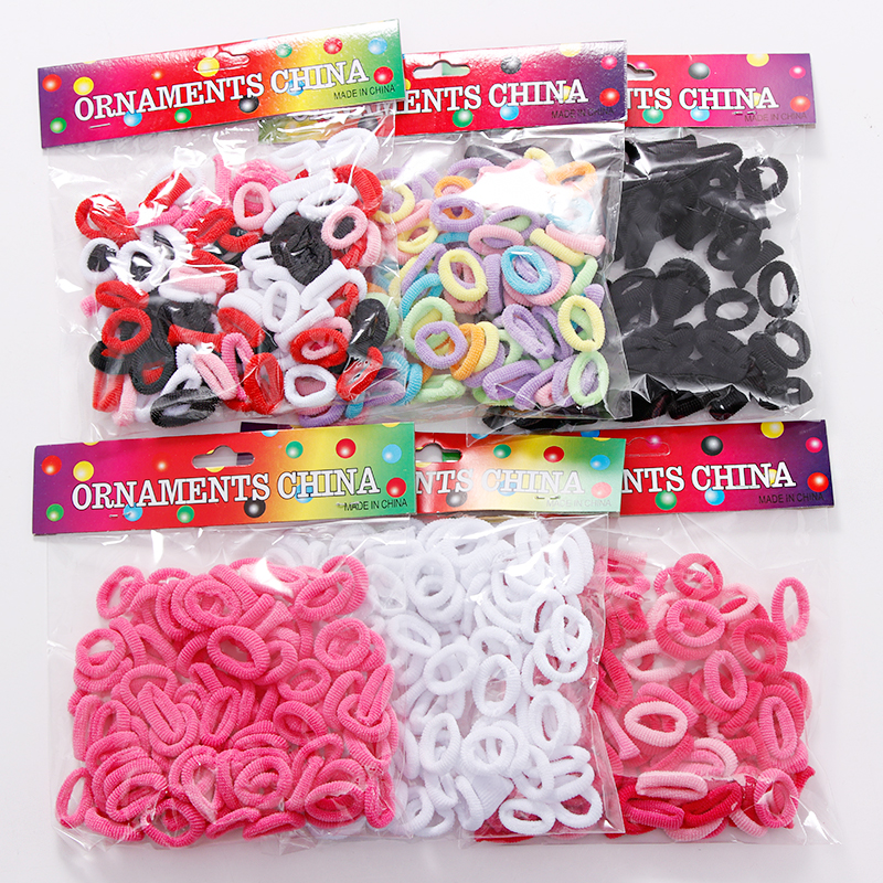 100pcs Wholesale Girls 1.5cm Colorful Small Ring Elastic Hair Bands Ponytail Holder Rubber Bands Scrunchie Kids Hair Accessories
