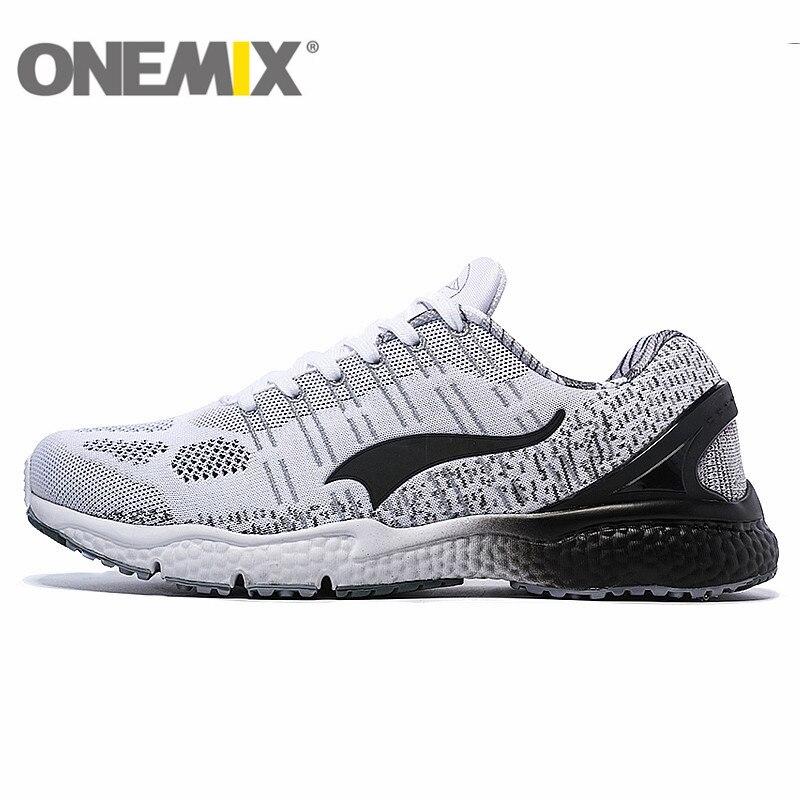 ONEMIX respirant maille chaussures de course pour hommes femmes 2016 tricot lumière dame formateurs marche en plein air Sport confortable baskets