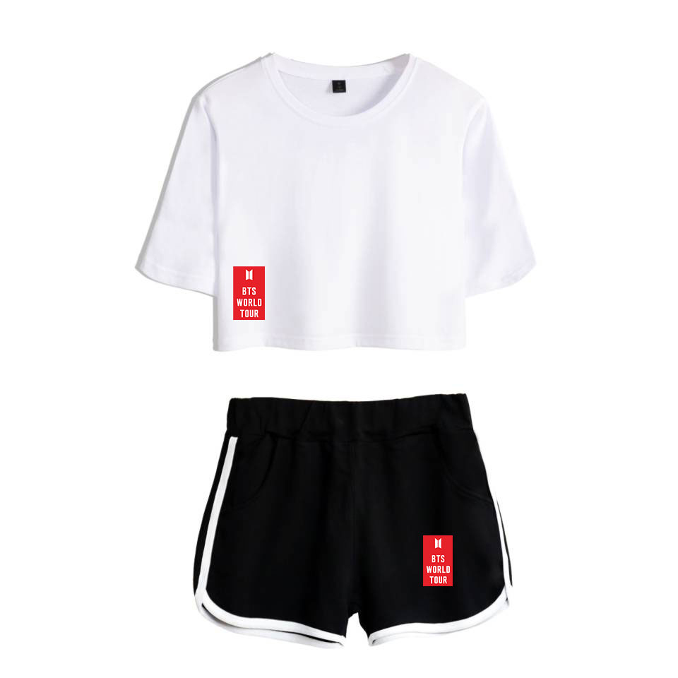 Skirts Frdun Tommy 2018 New Ariana Grande Short Skirt Suit Short Sleeve T-shirt And Short Skirt Two Piece Girl Casual Kpop Style Sets