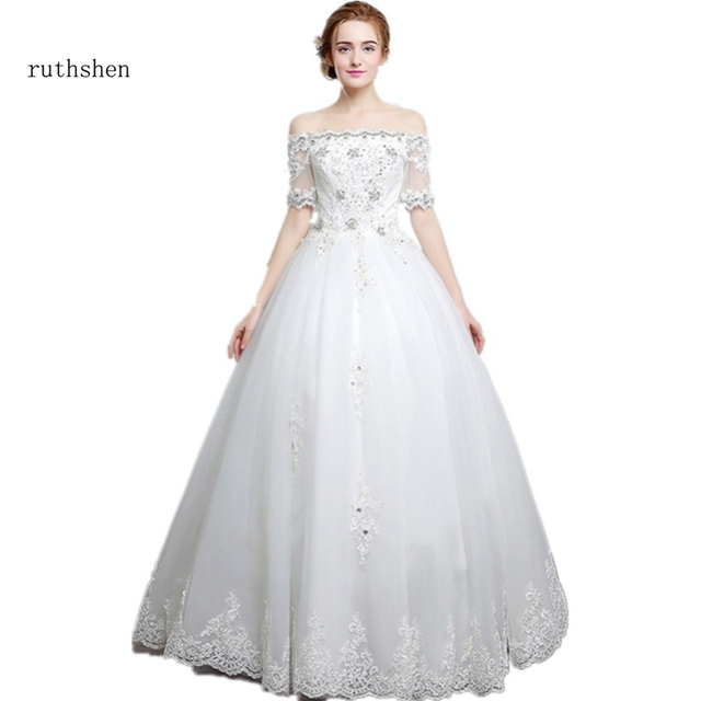 ruthshen Real Photo Wedding Dresses 2018 Off Shoulder Stones Beaded Bling  Short Sleeves Ruched Tulle Cheap Bridal Gowns 9c400e7efcbc