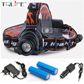 8000Lumens Headlight  LED Headlamp  Waterproof Head Lamp Zoomable Headlight + AC Charger + Car Charger+18650 Battery