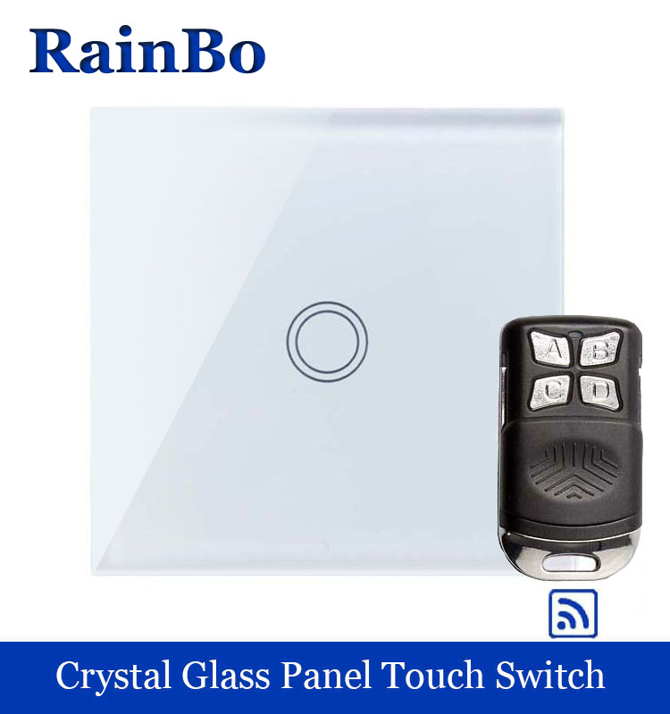 rainbo Crystal Glass Panel Switch EU Wall Switch 110~250V Remote Touch Switch Screen Wall Light Switch 1gang1way  A1913XW/BR01 1 way 3 gang crystal glass panel touch screen home light wall switch remote controller ac100 250v best price
