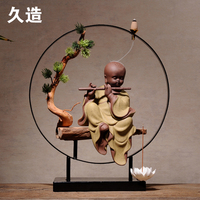 TOP business ART# HOME Office CHAN Buddha high brow sand fired porcelain pottery censer art statue + free Incense