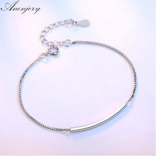 Anenjery Simple Fashion 925 Sterling Silver Bracelets Tube Box Chain Bracelets & Bangles For Women pulseira S-B91(China)