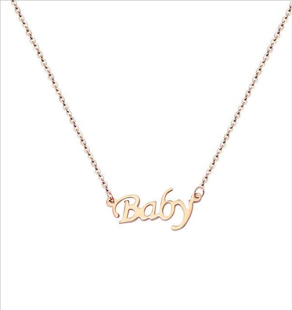 Personalized baby letters gold color clavicle necklace personalized baby letters gold color clavicle necklace fashiontitanium steel women jewelry christmas mothers day gift negle Images