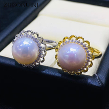 ZHBORUINI 2019 Fine Pearl Ring Pearl Jewelry 925 Sterling Silver Jewelry Round Ring For Women Natural Freshwater Pearl Wedding zhboruini fashion pearl jewelry set natural freshwater pearl flower necklace earrings ring 925 sterling silver jewelry for women