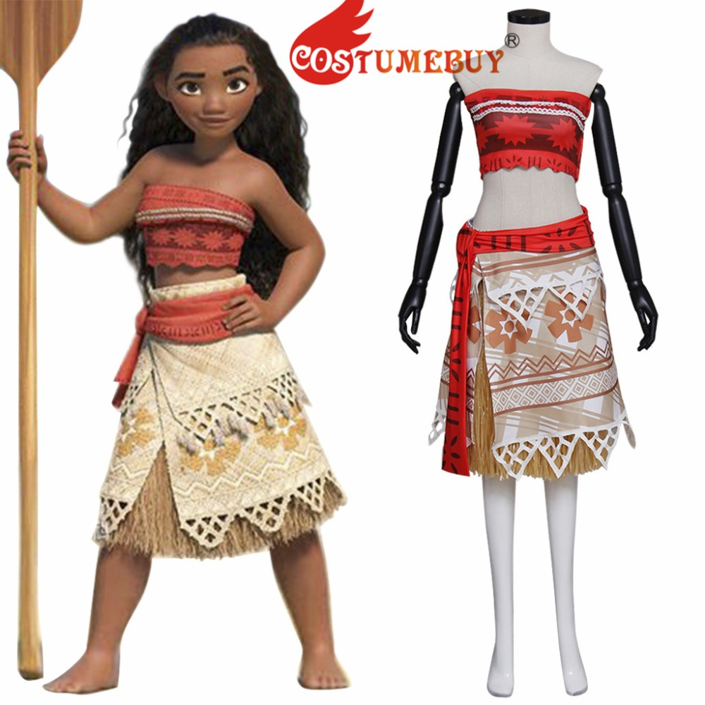 CostumeBuy Princess Moana Cosplay Moana Dress Costume Women Girls Halloween Party Fancy Dress Custom Made