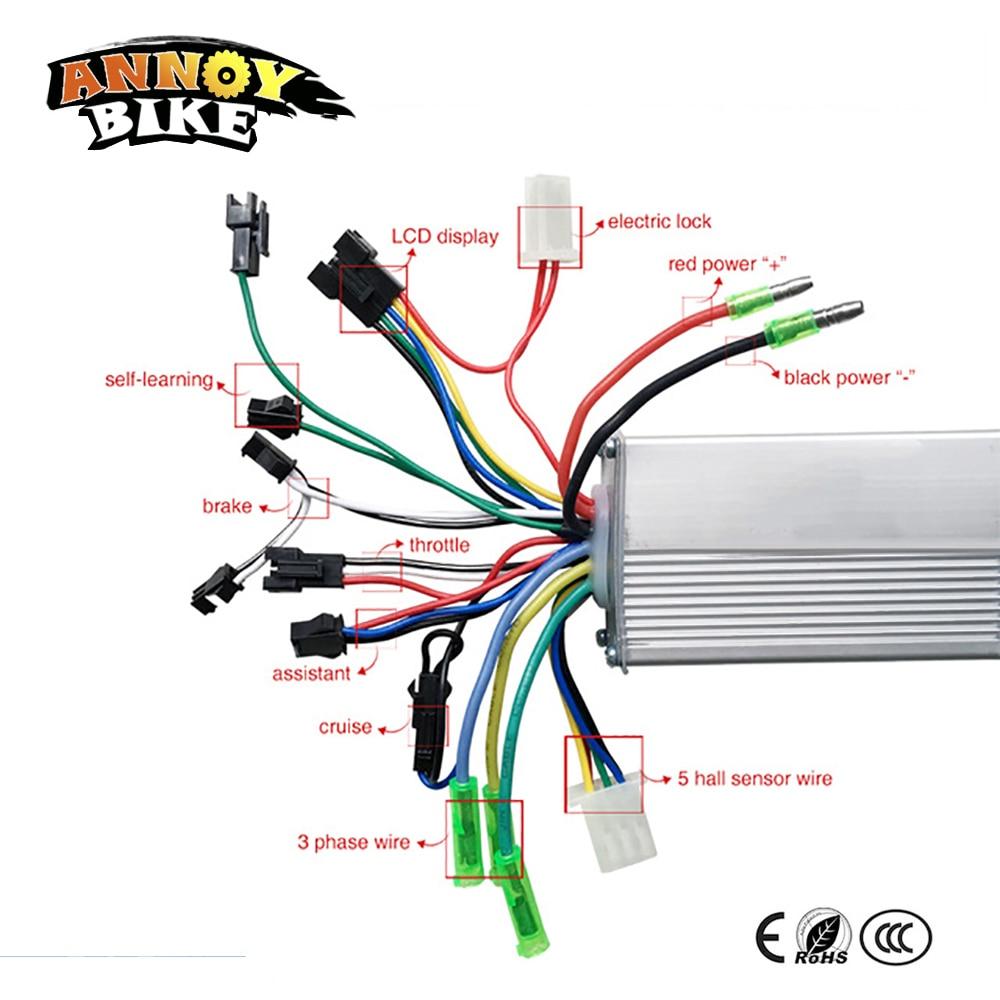 e bike controller wiring diagram basic home electricity diagrams motor speed 250w 350w 24v 48v bldc 36v/48v 500w brushless sine wave sensor ...