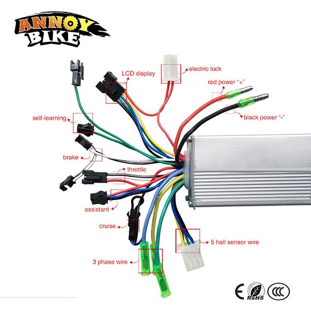 Bicycle Wiring Diagram Clarion Cd Player Motor Speed Controller 250w 350w 24v 48v Bldc 36v/48v 500w Brushless Sine Wave Sensor ...