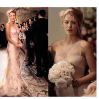 Gossip Girl Serena 2020 Sexy Blush Pink Mermaid Wedding Dresses One Shoulder Sweep Train Ruffles Bridal Gowns Custom Made