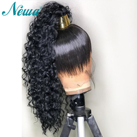 NYUWA 360 Lace Frontal Wig Pre Plucked Curly Lace Front Human Hair Wigs With Baby Hair Brazilian Remy Hair Wigs for Black Women