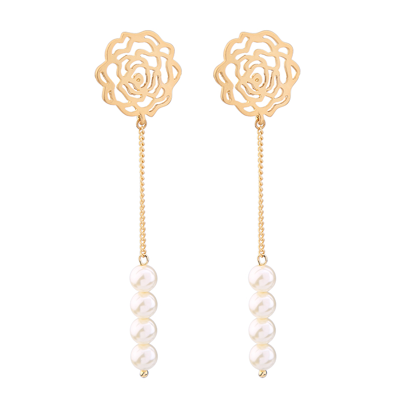 KISS ME Rose Gold & Gold Color Chain Long Earrings Alloy Hollow Out Flower Imitation Pearls Earrings for Women