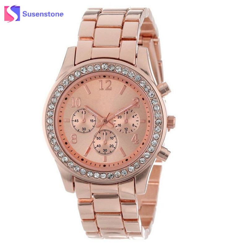 luxury brand women quartz watch rose gold stainless steel. Black Bedroom Furniture Sets. Home Design Ideas