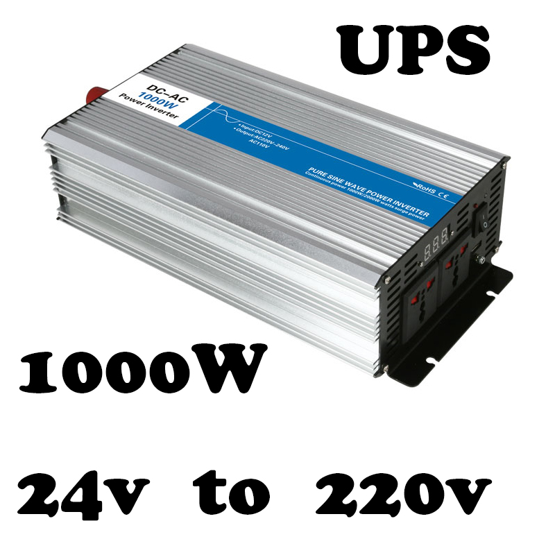 UPS inverter 1000w 24v to 220v Pure Sine Wave off grid solar inverter voltage converter with charger and UPS AG1000-24-220-A