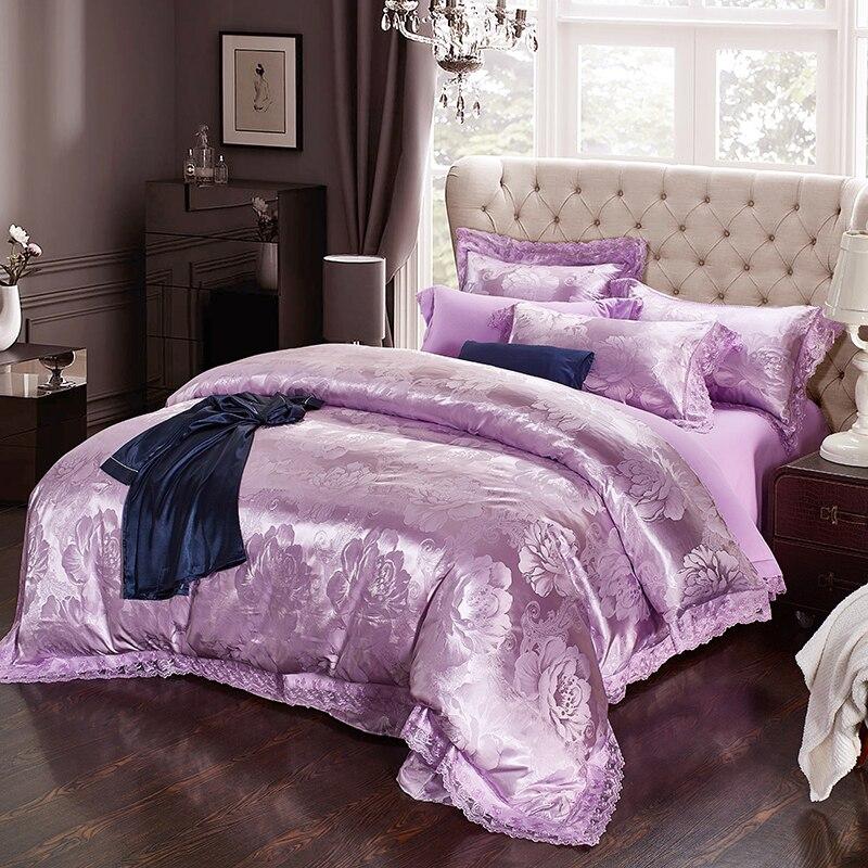 7d4a0978d6724 Home textile Luxury Jacquard Violet bedding sets queen king duvet cover  lace flat bed sheet pillowcase