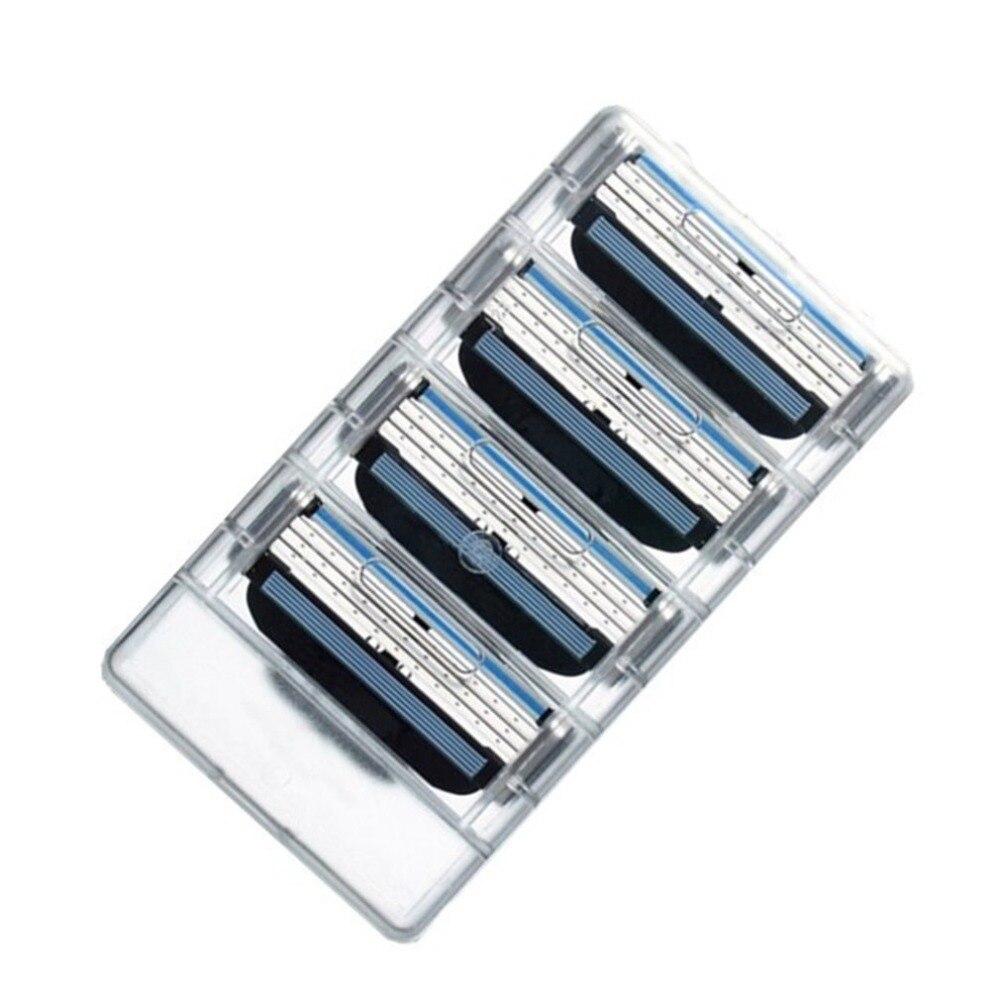 4 шт. 3 слоя Для мужчин бритва для бритья лица Бритвы лезвия мужской ручной сменные лезвия для бритвы для Стандартный бороды бритва триммер лезвия