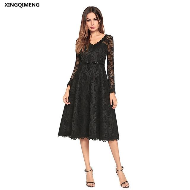 920ab4741 En Stock Full Lace manga larga vestidos de cóctel corto elegante vestido  negro blanco elegante mujeres