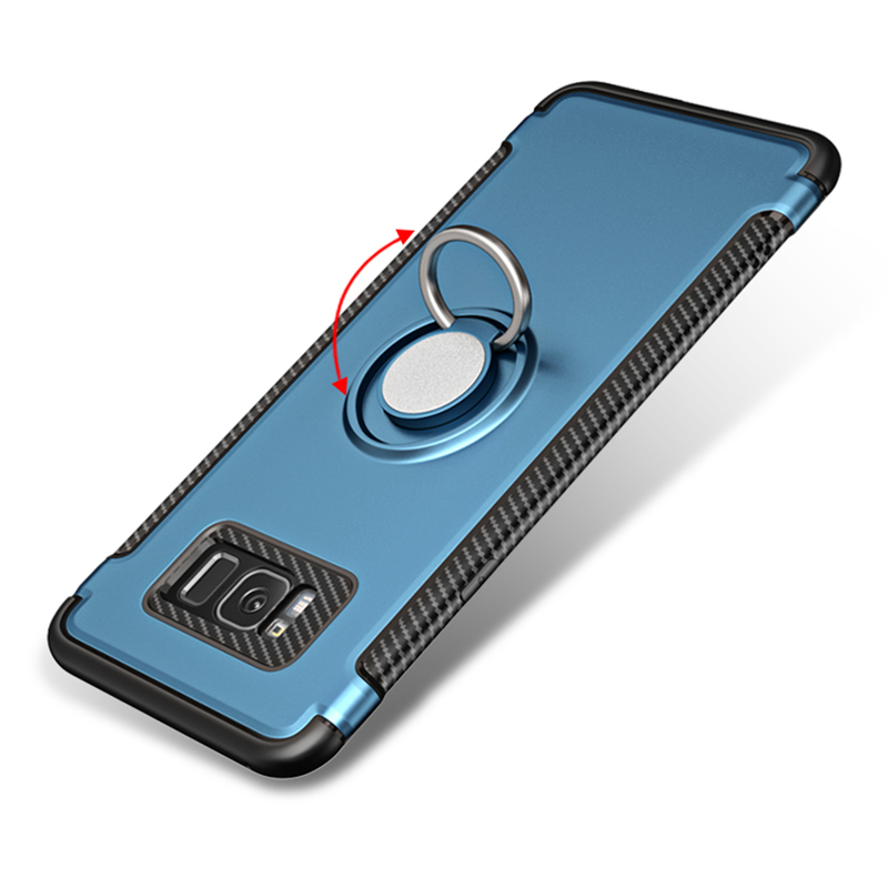 Quusimple Full Protection Armor <font><b>Phone</b></font> <font><b>Case</b></font> for Samsung Galaxy S8 Plus Soft Silicone+Ultrathin PC Finger Ring Shockproof Cover