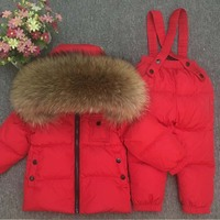 90% White Duck Down Winter Thickening Warm Clothes Children Hoodie Raccoon Fur Coldproof Snowsuit Boys Girls Down Jacket Outwear