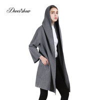 Women Hooded Cape Cashmere Coat 2017 New Woolen Coat Woman Winter Jacket Overcoat Female Outwear Blends Casaco Feminino Trench
