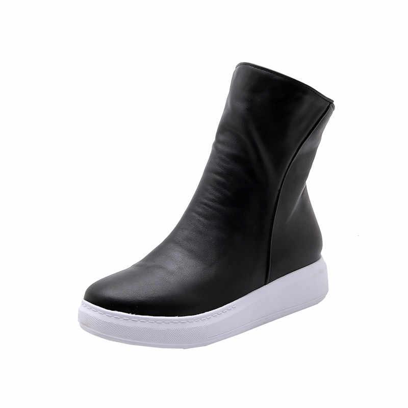 MORAZORA 2019 yeni varış kadın yarım çizmeler pu yuvarlak ayak sonbahar çizmeler fermuar basit rahat rahat düz ayakkabı kadın kırmızı