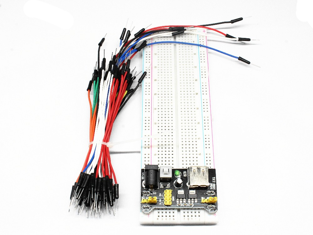 65 Jumper Wires 1 Set and 9V snap Connector Power Supply 830 tie Point Solderless Breadboard