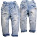 6378 бесплатная доставка дети полоса джинсы весна мягкие джинсовые брюки голубой свободного покроя брюки мальчиков детские брюки эластичный пояс джинсы