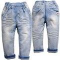 6378 envío gratis los niños de la raya suaves de la primavera mezclilla pantalones ocasionales azules claros de los bebés de la cintura elástico pantalones vaqueros del bebé