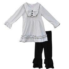 Style décontracté Boutique Filles Automne Hiver Enfants Vêtements Pleine Manches Noir Polk Dot Top À Volants Pantalon Enfants Tenues Ensembles F038