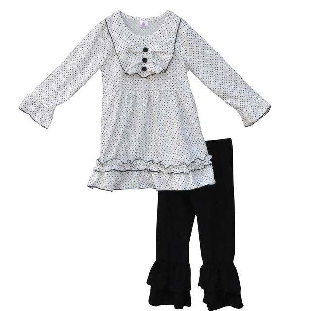 Casual Style Boutique Girls Fall Winter Children Clothing Full Sleeve Black Polk Dot Top Ruffle Pants Kids Outfits Sets F038