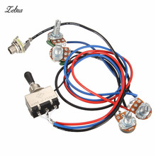 Zebra Wiring Harness 2V/2T 3 Way Toggle Switch 500K Pots For Guitar Dual Humbucker Replacement Guitarra Parts Accessories