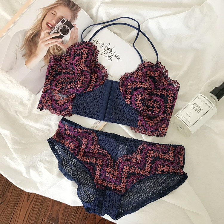 CINOON Sexy Lingerie Front Buckle Underwear Thin Cup Bra Set Lace Brassier And Panties For Women Floral Lingerie Sets