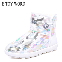 E TOY WORD Camouflage Boots women winter shoes plus insole Snow warm Slip-On flat Ankle for Women Botas mujer