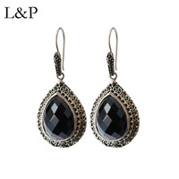 L&P Fine Jewelry Agate Drop Earrings For Women Real 925 Silver Retro Handmade Pierced Dangle Earrings Brincos For Anniversary