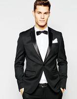 2017 Latest Coat Pant Designs Black Satin Peaked Lapel Wedding Dress Suit For Men jacket pant Tuxedo 2 Pieces Terno Casamento