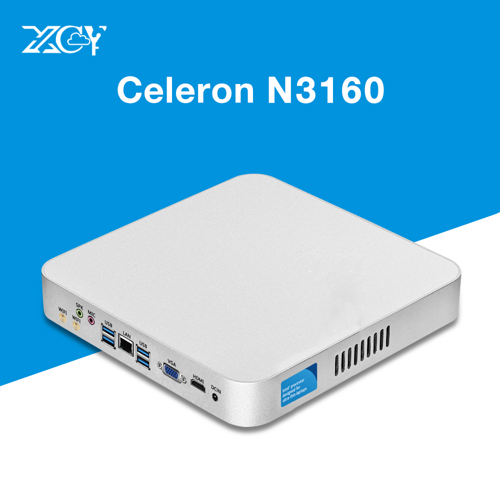 XCY Mini PC Windows 10 Intel Celeron N3160 HTPC HDMI WiFI Quad-core 2.24GHz Fanless Thin Client Nettop Computer Tables Case xcy mini pc intel pentium n3510 celeron j1900 windows 10 linux htpc thin client nettop hdmi vga wifi nuc fanless compact pc