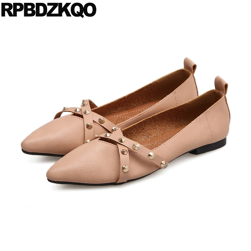 fda5550806 Stud Women Cheap Shoes China Black Factory Direct Flats Pointed Toe Latest  Chinese Slip On Metal Rivet 2018 Italian Pink Belts