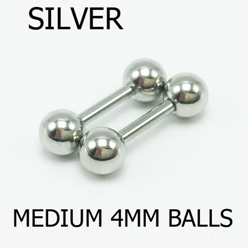 4mm silver 2pcs