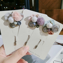 Korea Handmade Modern Yarn Clock Pearl Flower Brooches Pins Badges Fashion Jewelry For Girl Woman Suits Accessories-JQGWBH006F
